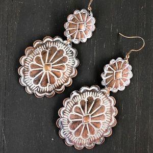 Jewelry - Long copper concho earrings